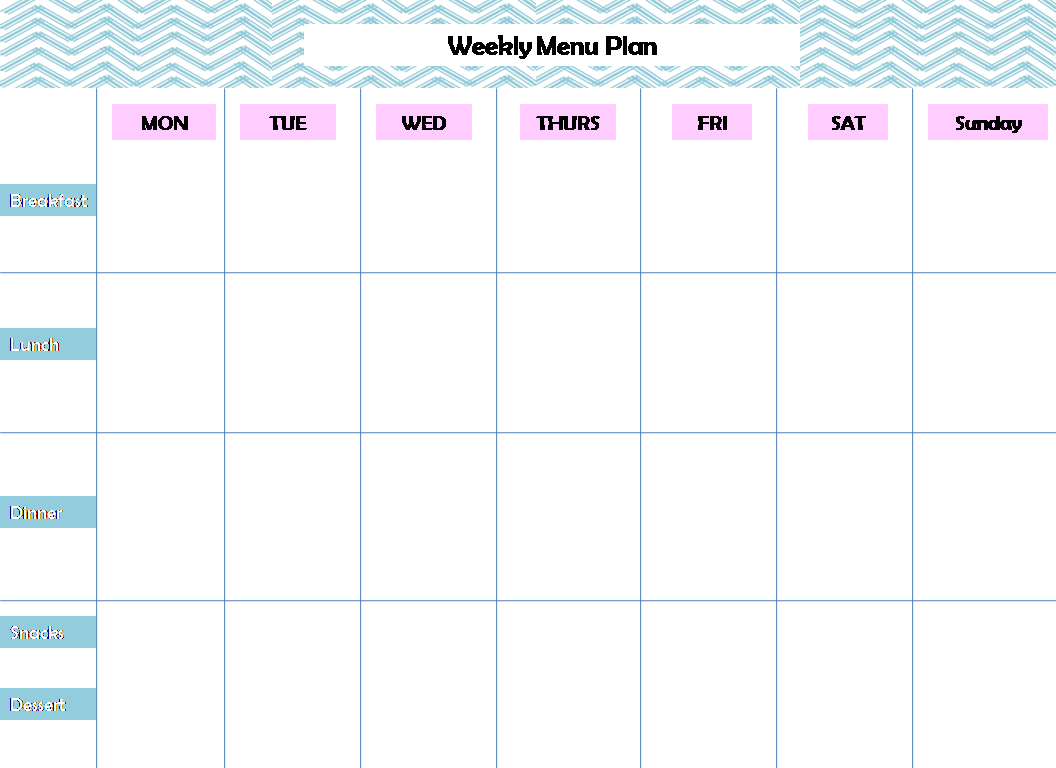 Weekly Menu Planning Printable  Menu Planner Template Printable