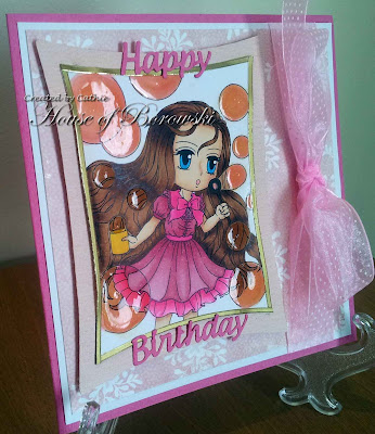 Diecut Divas, Art by Miran Bubbles Brea, Mpress Curved Rectangle, Elizabeth Crafts Design Happy Birthday