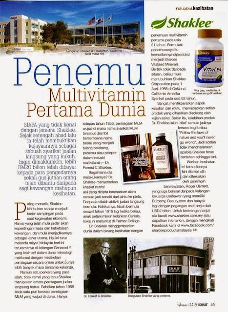 Multivitamin Shaklee 100 tahun