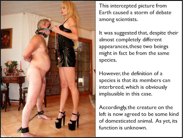 captioned image of dominatrix and inferior