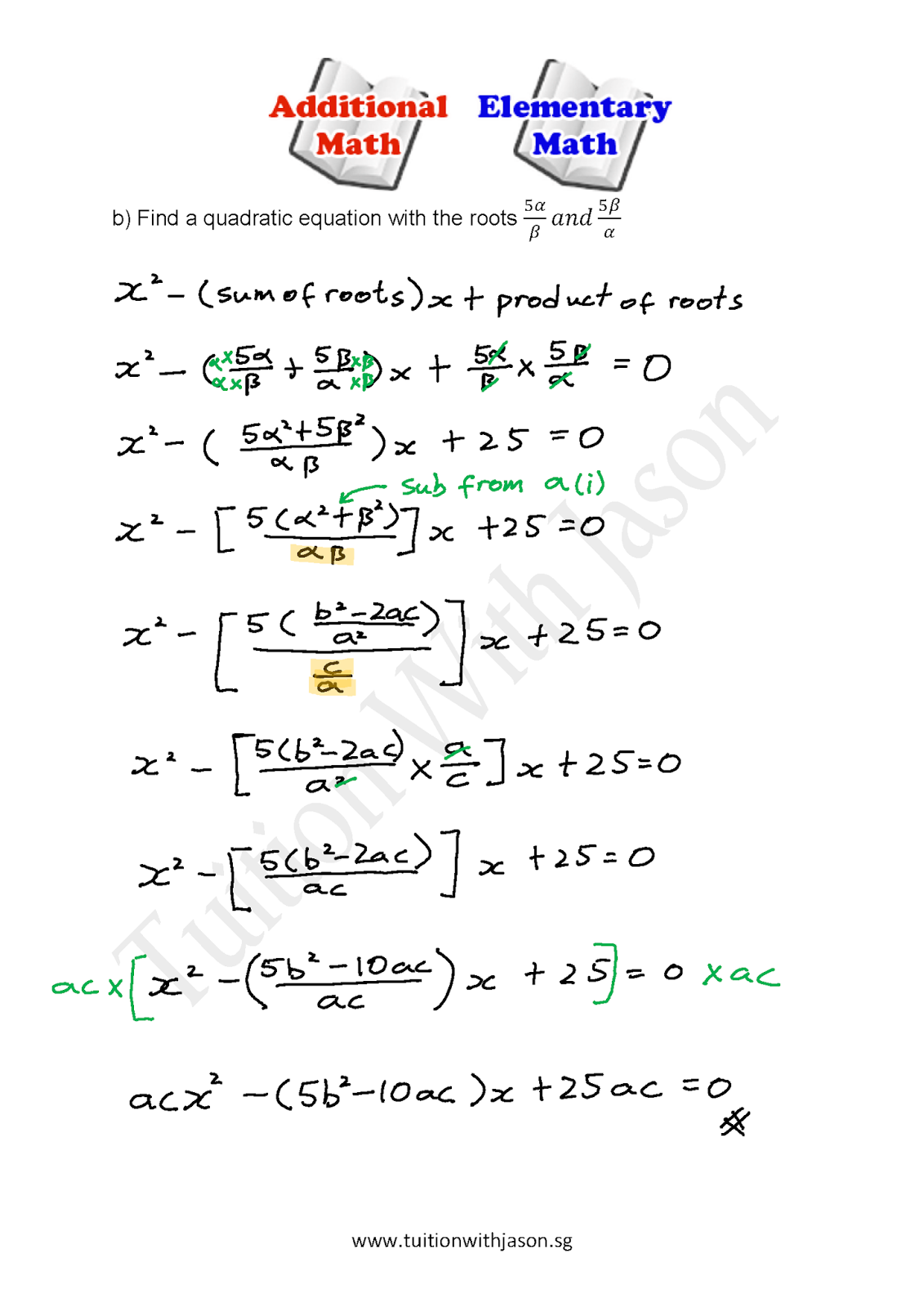A-Math - Quadratic Equation - Sum and Product of Roots (2 ...