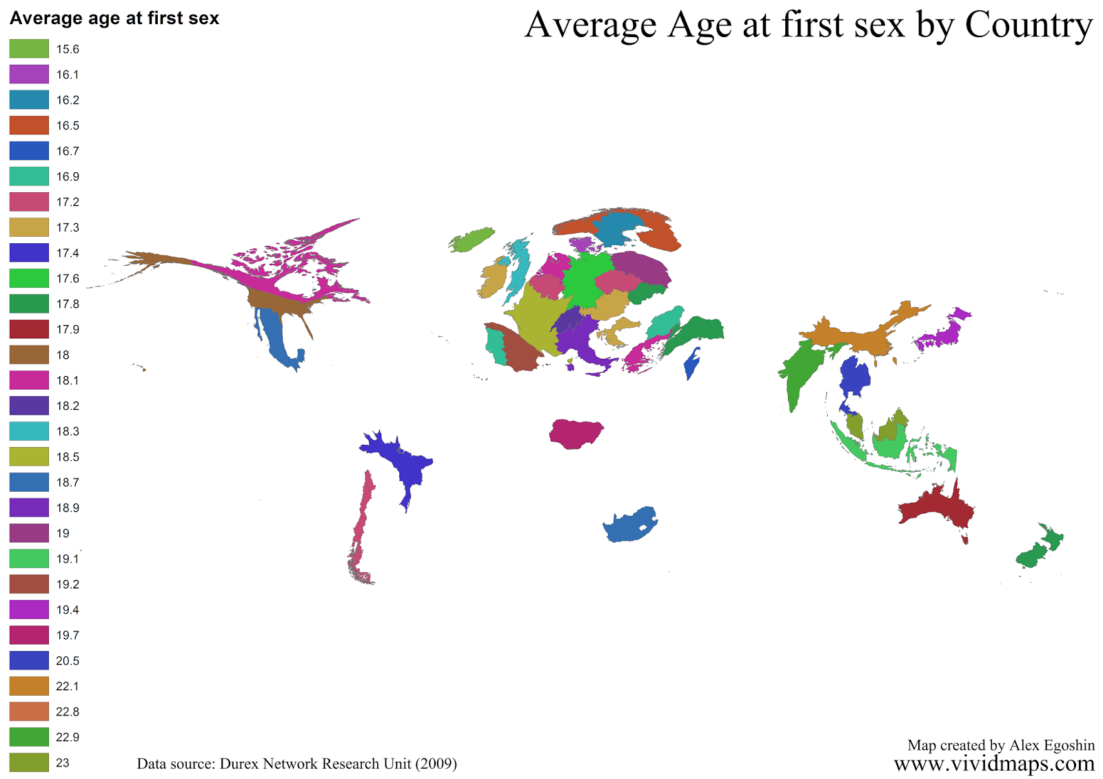 Average Age at first sex