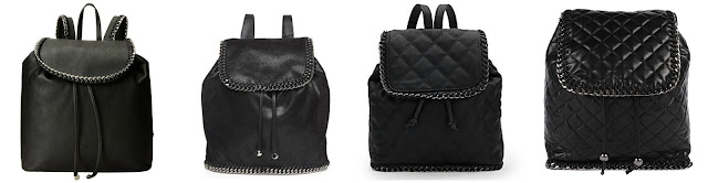 While I was looking through the black backpacks, I found so many that reminded me of the popular (and expensive) Stella McCartney bags. So...here are more black backpacks in the guessing game! One of these is from Stella McCartney for $1,295 and the other three are all under $100. Can you guess which one is the designer bag? Click the links below to see if you are correct!