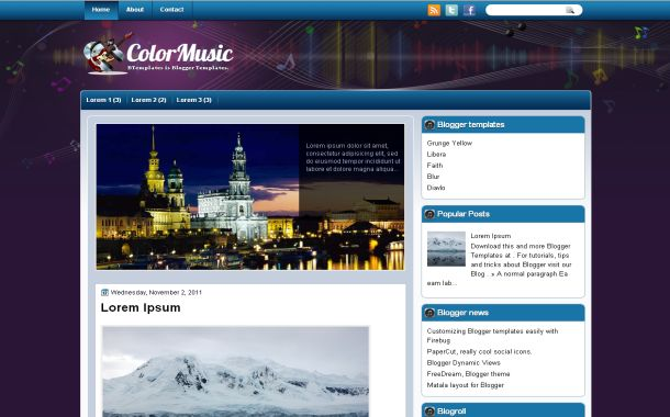 Free Colorful Purple Music Blogger Theme Template