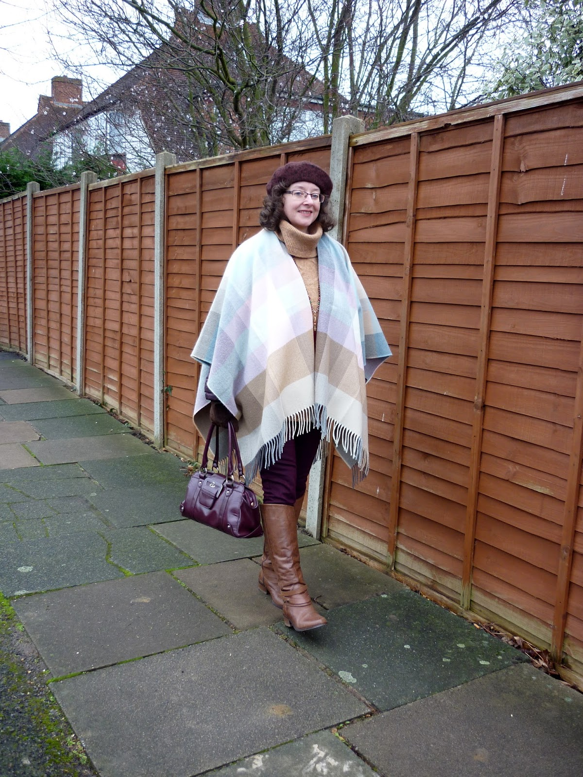 Tu Rollneck Jumper, M&S Riding Boots, Plaid Cape | Petite Silver Vixen