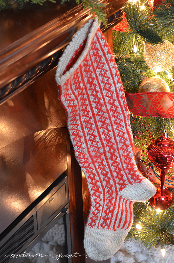 Vintage handcrafted wool sock perfect as a stocking hanging from the Christmas mantel!  | www.andersonandgrant.com
