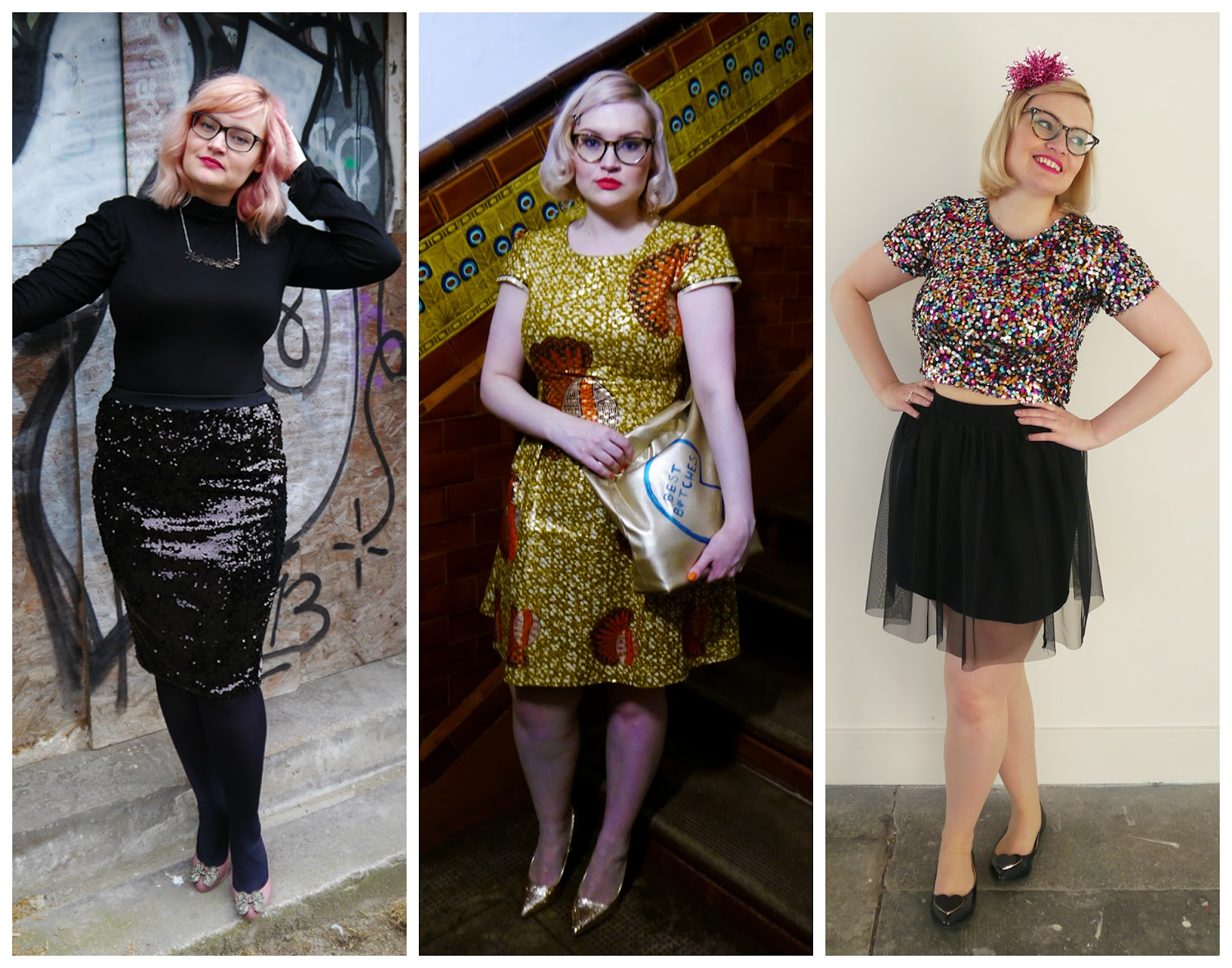 Styled by Kimberley, what kimberley wore, outfit round up 2015, blogger outfits 2015, going out outdits, Lady muck neckalce, black sequin skirt, Rowan Joy dress, multi coloured sequin top, party outfits 2015, Scottish bloggers, scottish blogging duo, blogging duo, Wardrobe Conversations