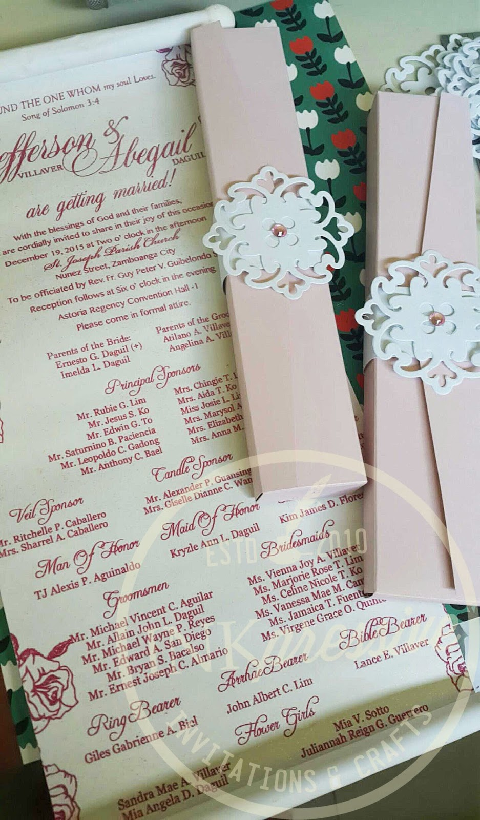 Pink scroll wedding invitation thermal embossed | WEDDING INVITATIONS