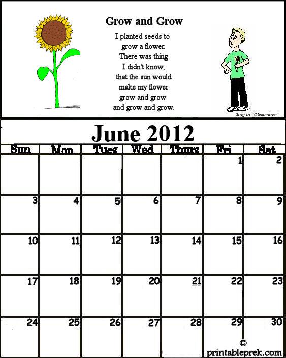 Printable June Calendar Kindergarten : Preschool teacher s resource june