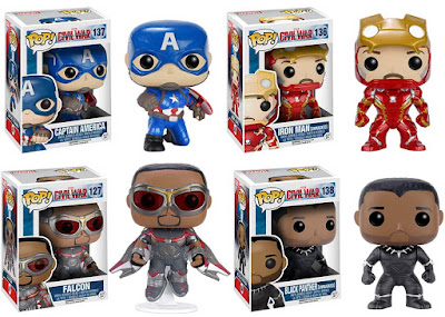 Captain America Civil War Retailer Exclusive Pop! Vinyl Figures by Funko - GameStop Exclusive Action Pose Captain America, Hot Topic Exclusive Unmasked Iron Man, Hot Topic Exclusive The Falcon & Walgreens Exclusive Unmasked Black Panther