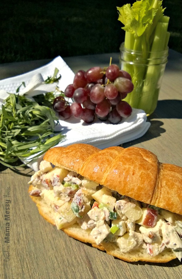 Apple and Tarragon Chicken Salad - this will be your new favorite chicken salad recipe. Tender white meat chicken, sweet apples, pecans, and fresh tarragon in a light greek yogurt dressing.