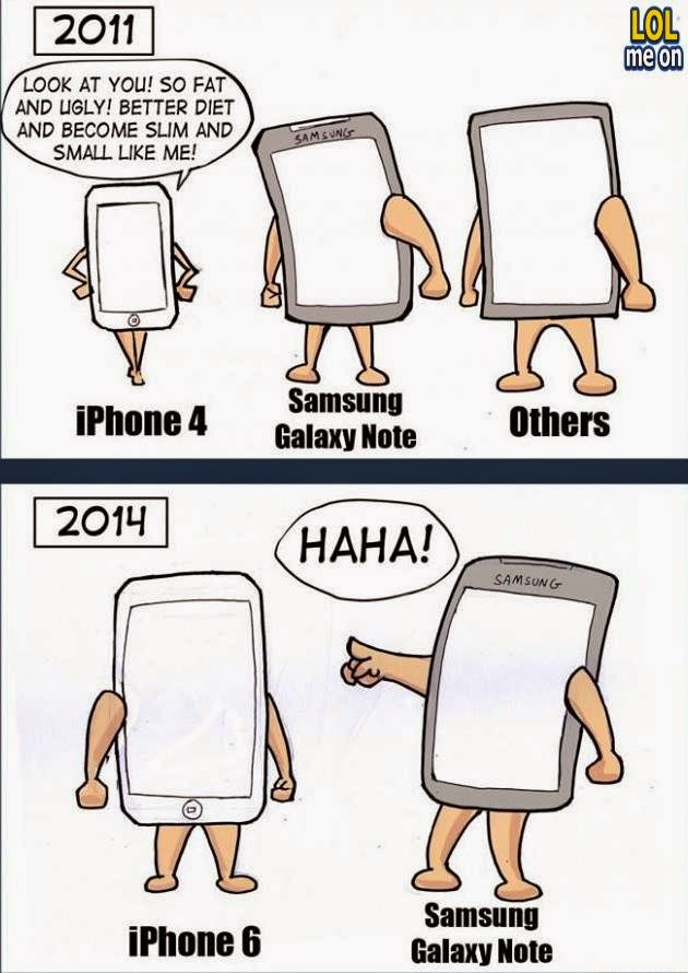 iphone 4 vs iphone 6 - funny cartoon picture