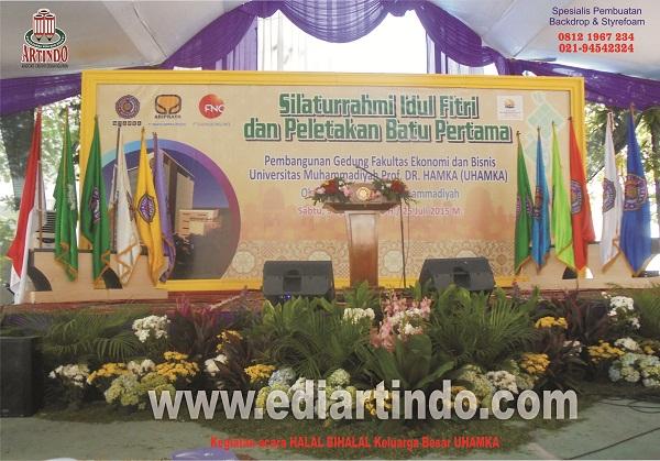 Pembuatan Backdrop Halal Bi Halal UHAMKA