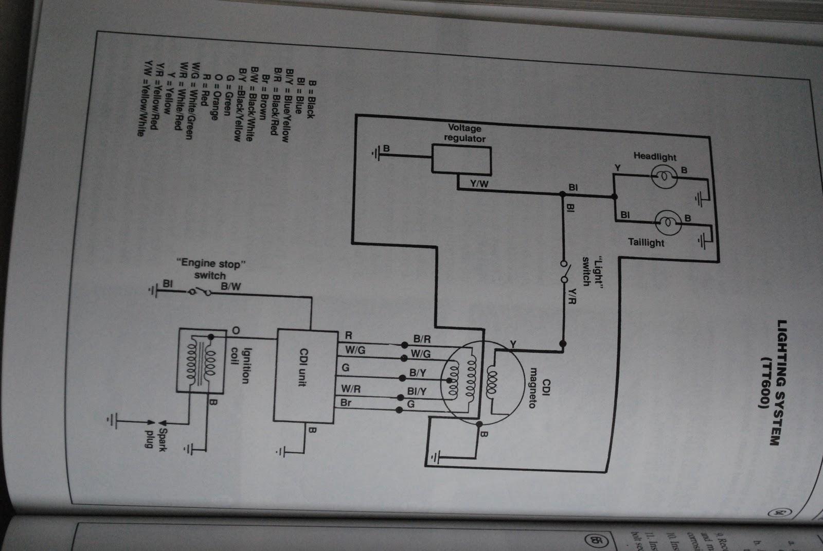 Yamaha Tt600 Wiring Diagram : Bedradingsschema yamaha tt u serie techniek