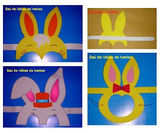 Máscaras de coelhinhos em E.V.A