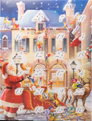 Confiserie Klein Adventskalender mit Pralinen Weihnachtsmann mit Schlitten