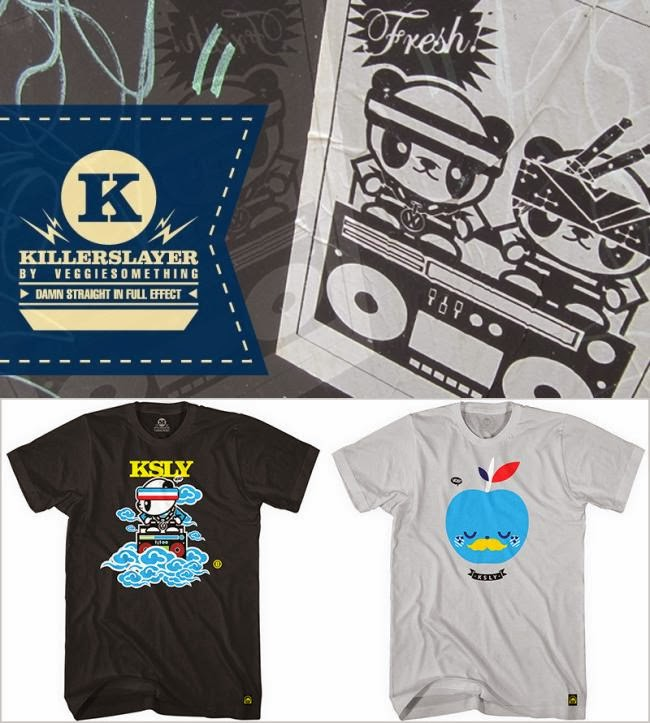 Killerslayer Inaugural T-Shirt Collection by Veggiesomething & Freshism - Boombox Sky & Newton Apple T-Shirts