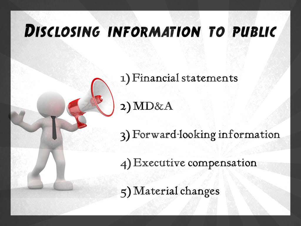 Public information financial reporting regulations