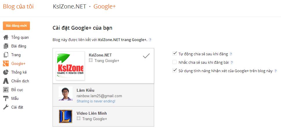 Bật khung nhận xét Google+ trong Blogger