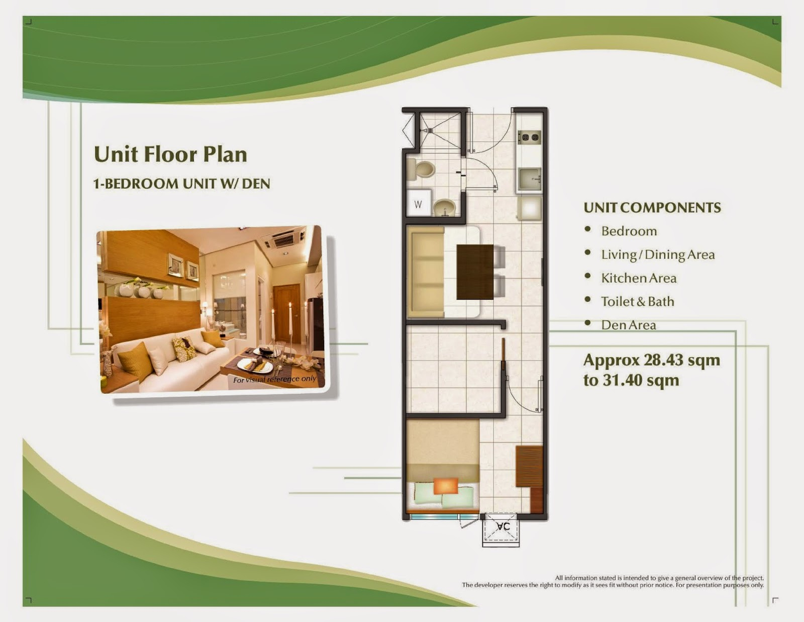 Trees Residences - 1 Bedroom Unit with Den Layout