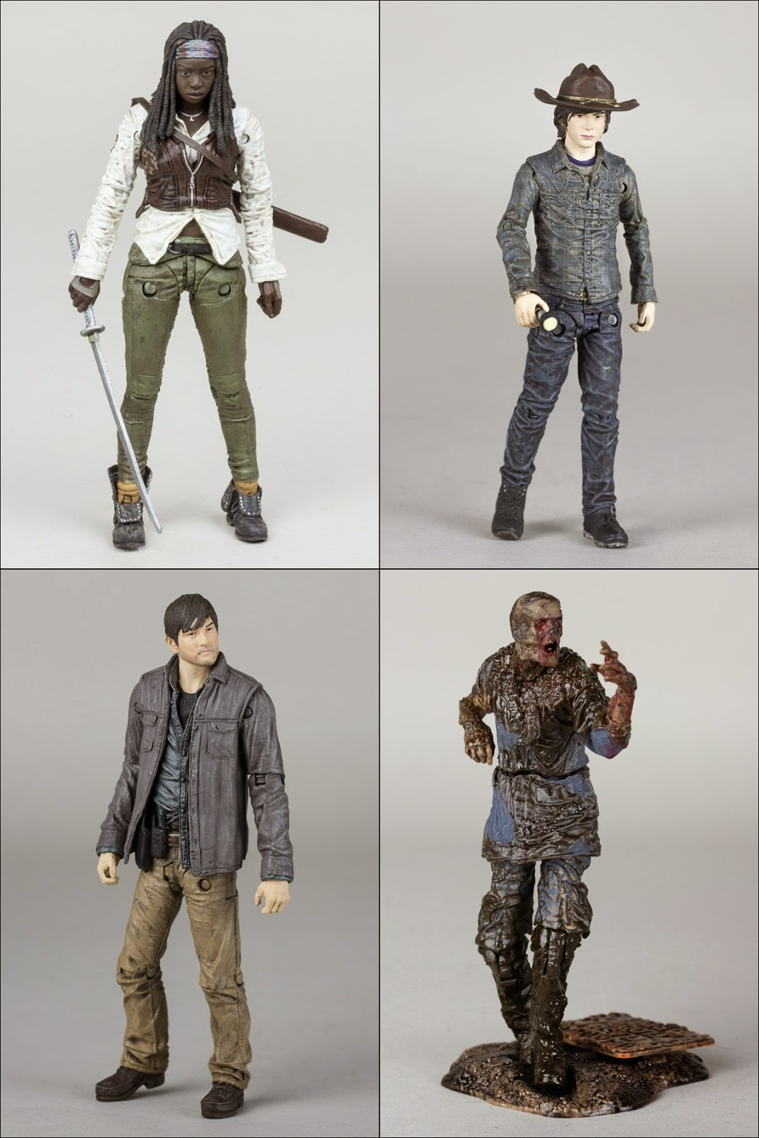 The Walking Dead Television Series 7 Action Figures by McFarlane Toys - Michonne, Carl Grimes, Gareth & Mud Walker