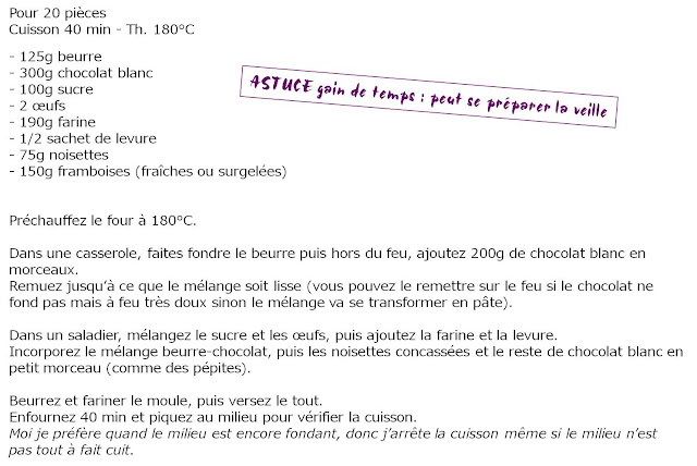 image recette Moelleux Framboises Chocolat blanc Noisettes