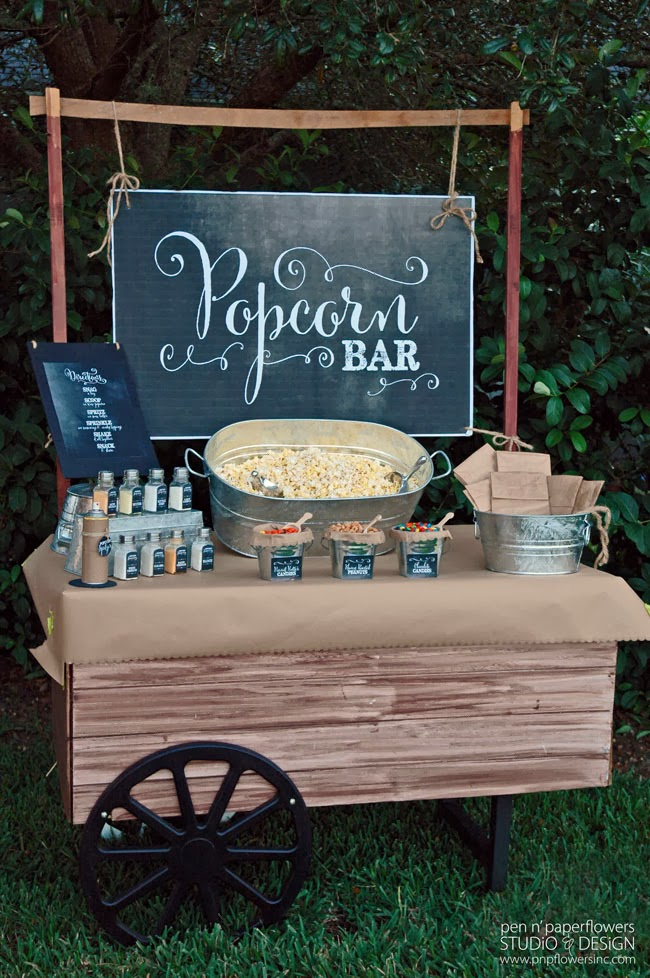 Pen Paper Flowers Restyle Chalkboard Popcorn Bar Collection