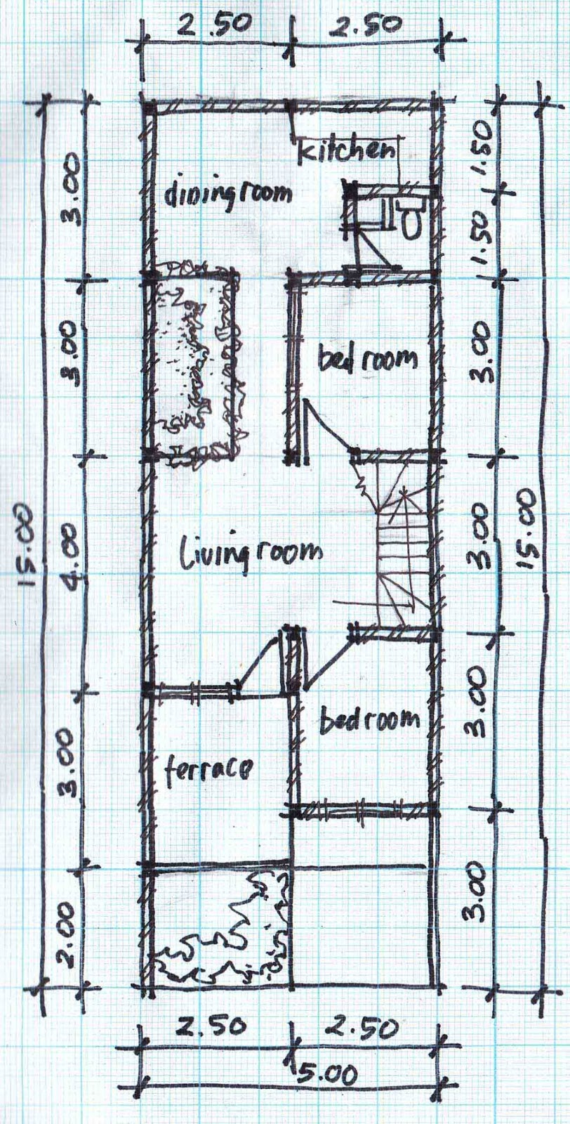 two story house plans 5mx15m house affair 2nd floor plan