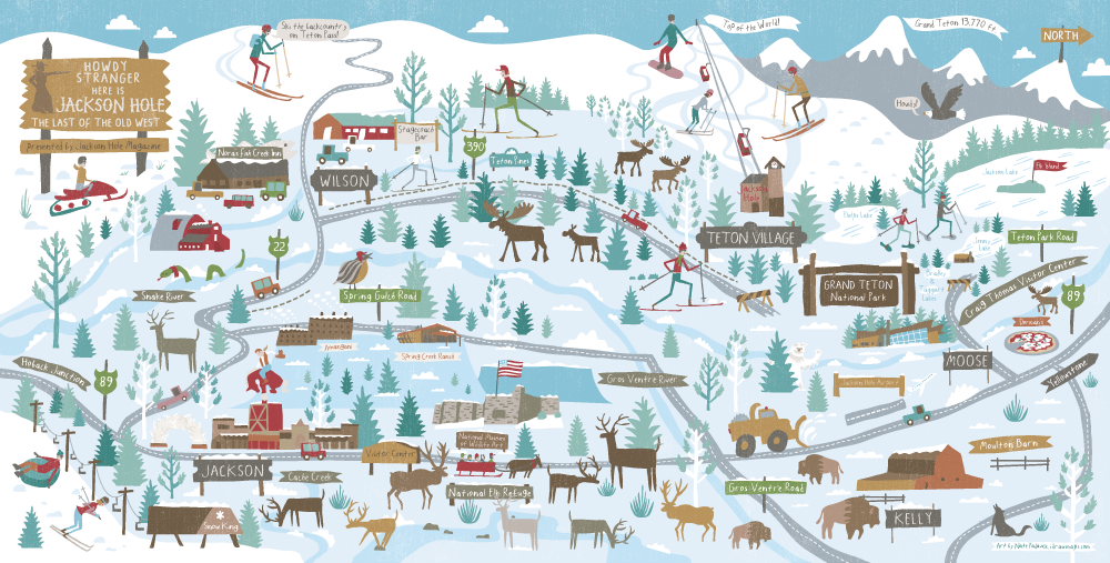 Draw maps summer and winter maps for jackson hole magazine