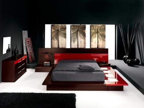 conceptions chambres coucher rouge et noir d cor de maison d coration chambre. Black Bedroom Furniture Sets. Home Design Ideas