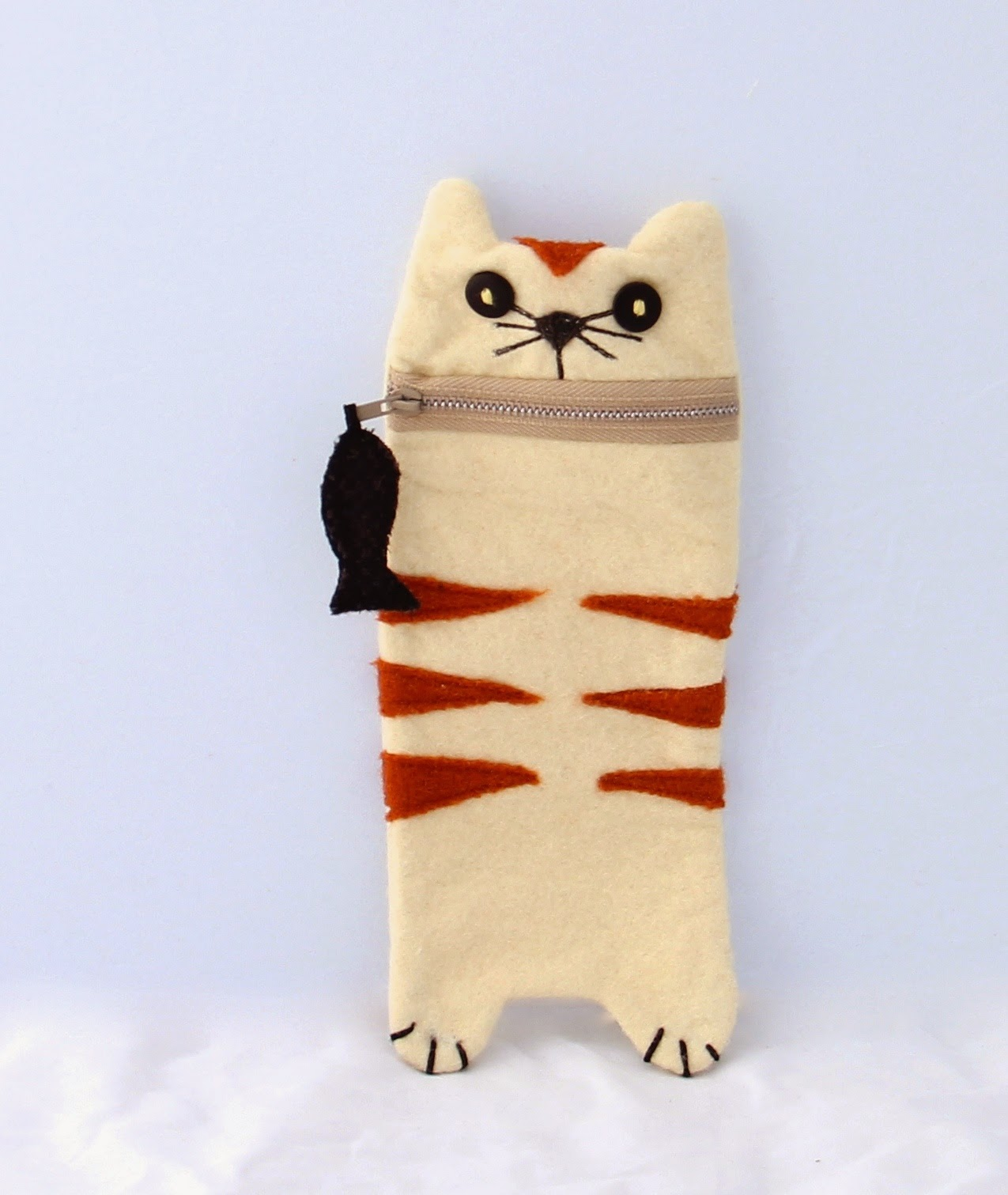 created blissfully - wool cat pencil case
