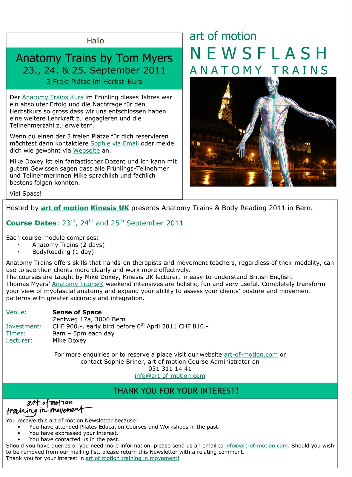 ART OF MOTION & ULTIMATE MASSAGE SOLUTIONS present Anatomy Trains ...