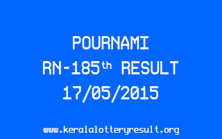 POURNAMI RN 185 Lottery Result 17-5-2015