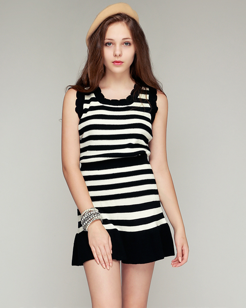 Striped Knit Top and Skirt Set