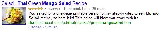 Exemple de Rich Snippets pour une recette de cuisine.