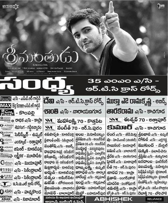 Srimanthudu Hyderabad Theatres List | Mahesh Babu | Sruthi Hassan