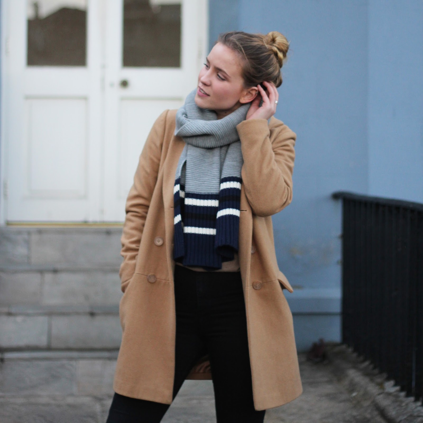 Latest Lil ASOS camel coat street style baby blue suede pumas