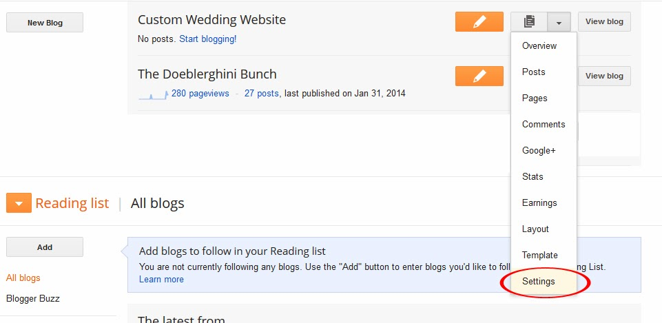 Doeblerghini Bunch:  Blogger Wedding Website - Editing Settings