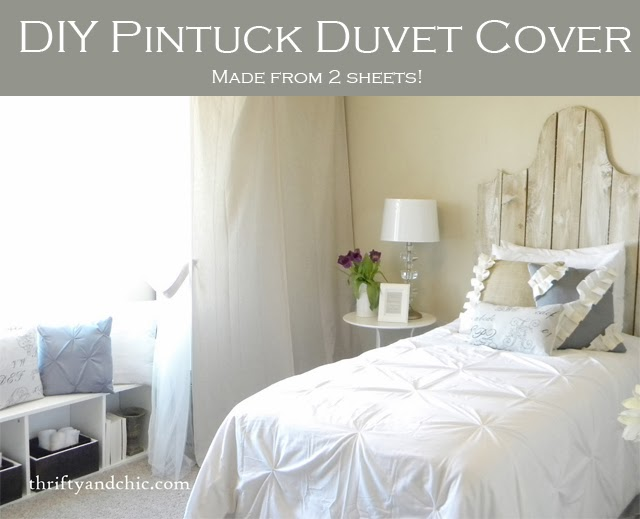 DIY Pintuck duvet cover -easy, made from 2 sheets!