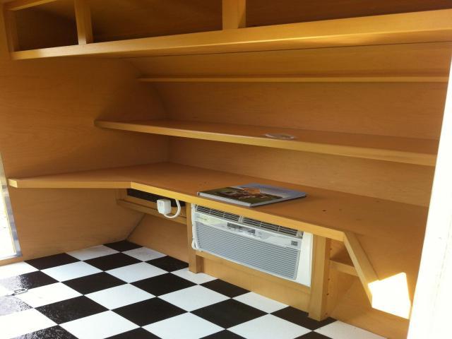 Tiny yellow teardrop may 2013 for Teardrop camper kitchen ideas
