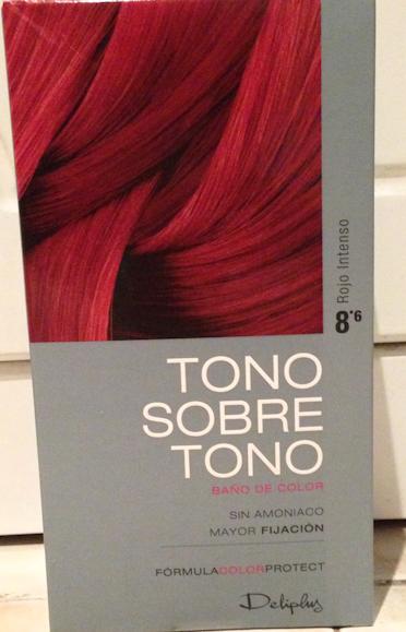 Baño Color Rojo Pelo: tono sobre tono deliplus (Mercadona) en concreto el 86 rojo intenso