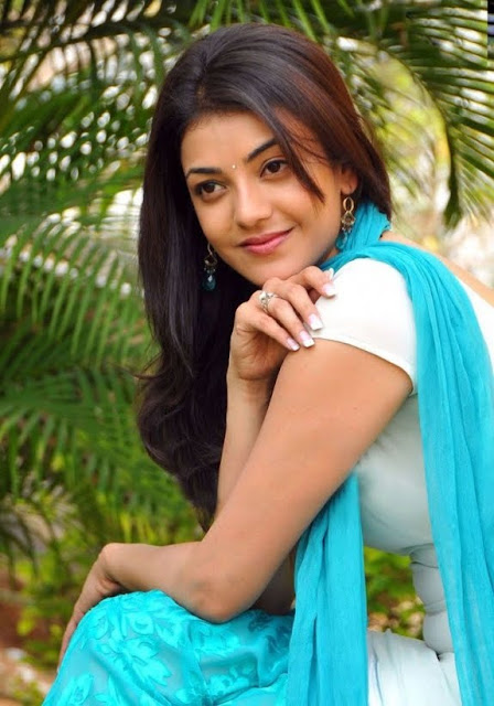 Kajal Agarwal Photoshoot in Blue-White Salwar Suit, Indian Fashion Gallery