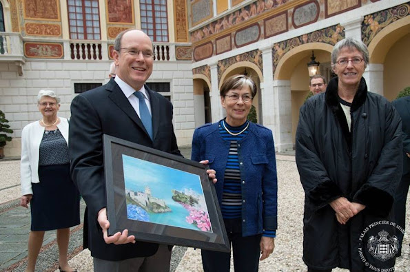 Prince's Albert II of Monaco and Thomas Fouilleron Archives and Library director of Monaco Palace as they visit the palace as part of the Heritage Day in Monaco