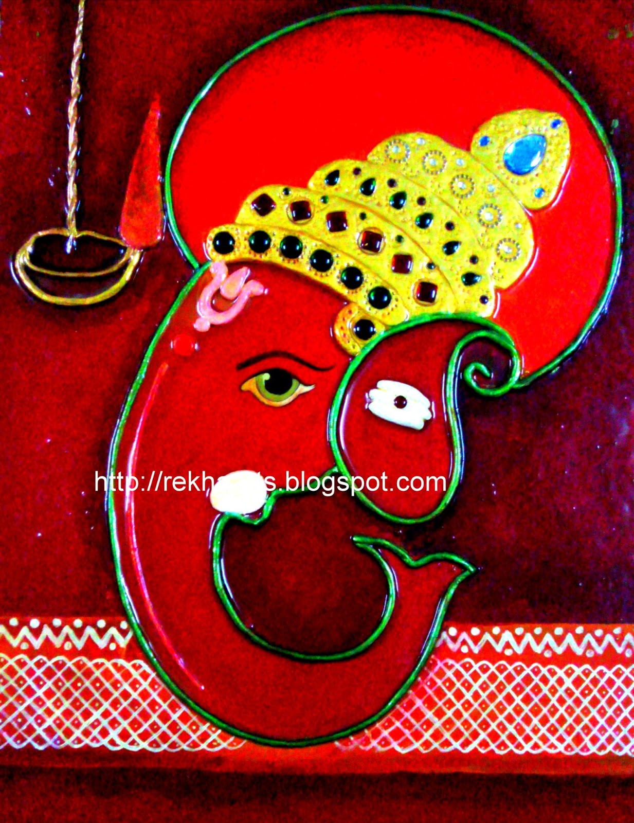 Varnaalaya m seal ganesha ganesha mural painting red for Mural work using m seal