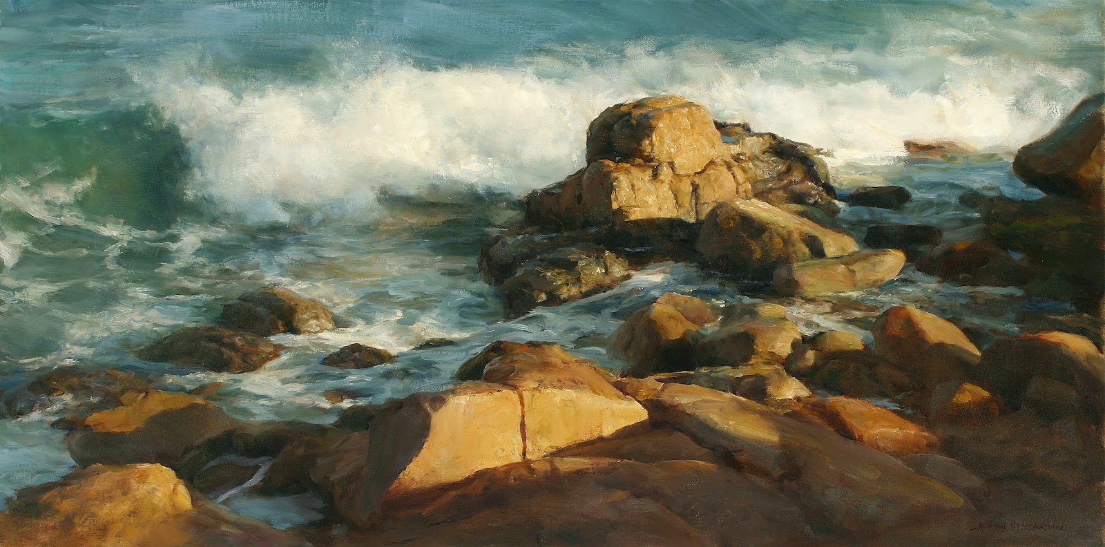 the rocky cove 21 75 x 43 5 oil mccartin displayed artistic talent as