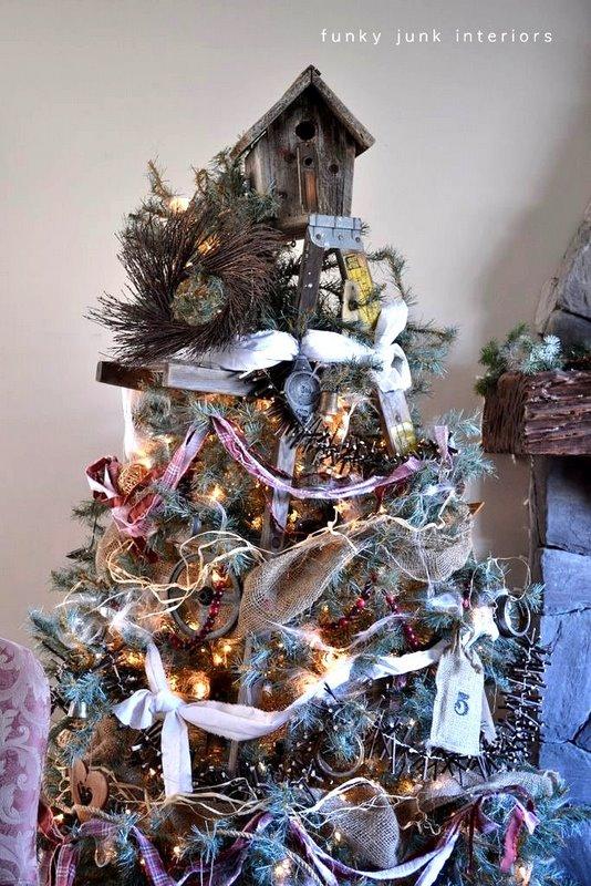 stepladder tree reveal - Christmas Tree Garland Ideas