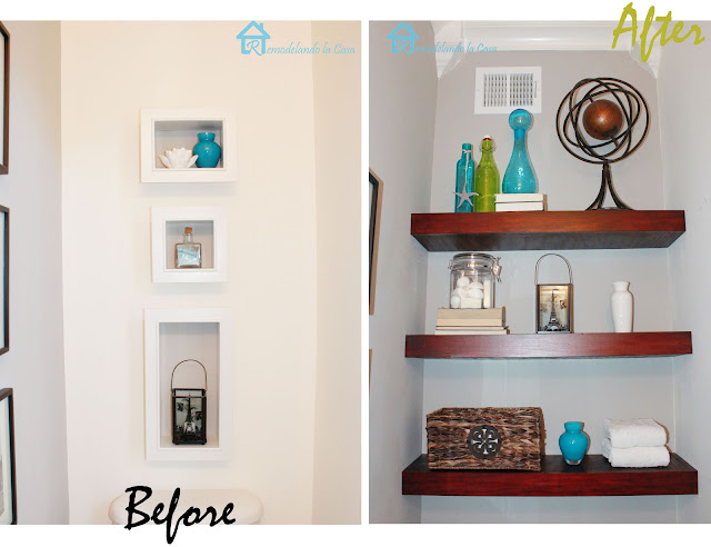 before and after of floating shelves diy