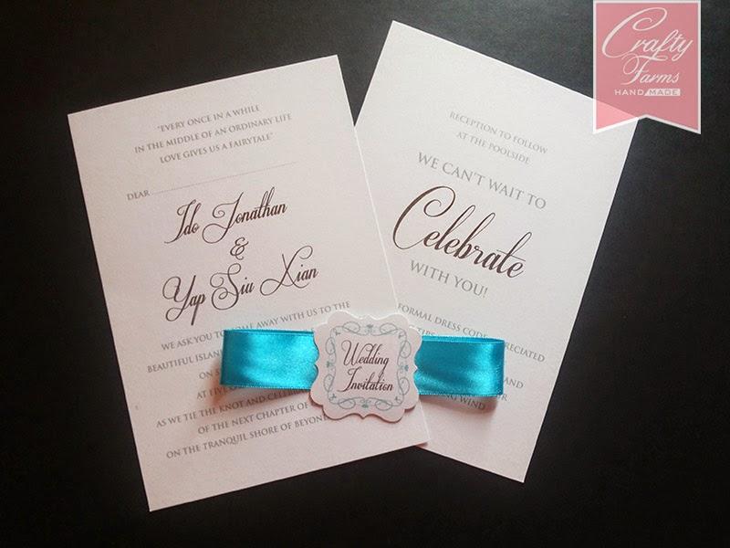 Flat Wedding Card with Ribbon Belly Band and Tag Kuala Lumpur