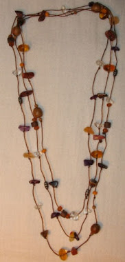 Long Necklace - Different stones in strong cotton -PP- Nec 7