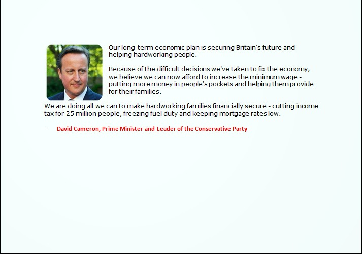 David Cameron, UK Prime Minister on long-term economic plan